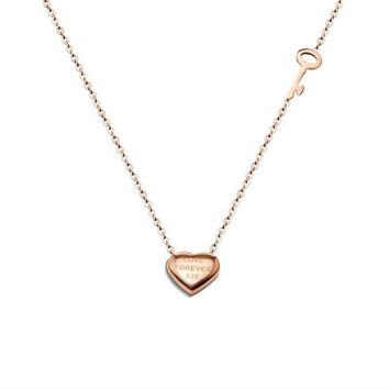 Heart & Key Stainless Steel Necklace Pendant Love Letter Fashion Rose Gold Color Women Charm Necklace Tiff Jewelry