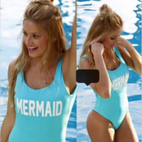 Tight piece MERMAID blue swimsuit female swimsuit