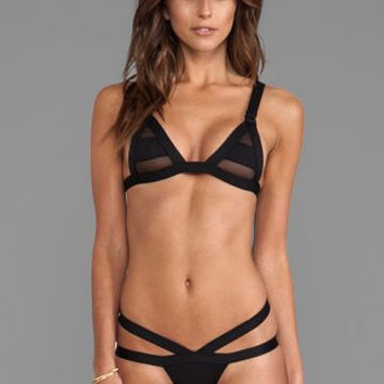 Black Mesh Cut Out Bandage Bikini