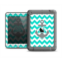 The Teal Green and Gray Monogram Anchor on Teal Chevron Apple iPad Mini LifeProof Fre Case Skin Set