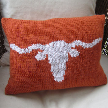 UT Longhorn burnt orange pillow by LadyshipDesigns on Etsy
