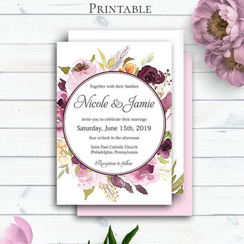 Burgundy Wedding Invitation, Customized Marsala Invitation, Bohemian Wedding, Bordaux Watercolor Floral Wedding Template, Personalized