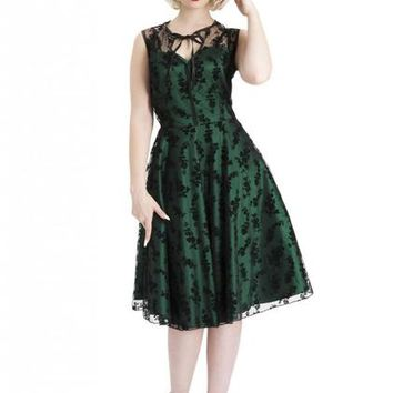 Taffeta Dress With Flocked Floral Lace Overlay Green Women's by Voodoo Vixen