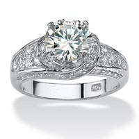 3.51 TCW Round Cubic Zirconia Platinum over Sterling Silver Engagement Anniversary Ring