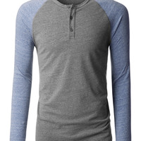 LE3NO PREMIUM Mens Color Block Long Sleeve Raglan Baseball Henley Shirt