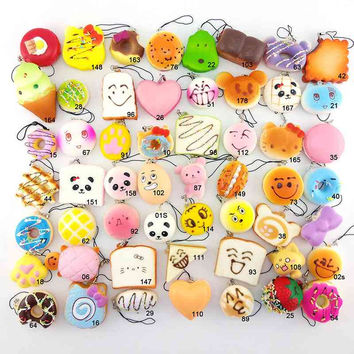 Cheap Price Sale 10pcs/set Mobile Phone Straps Squishy Cute Soft Panda/Bread/Donut Phone Keychain for Phone Decor