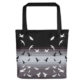 Sister Doves Soaring Birds Large Tote Bag Canvas Beach Boat, 15x15""