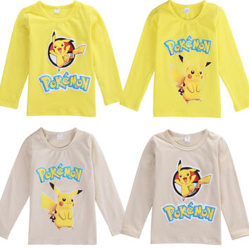 Auutmn 2016 Kids Baby Boys Girls Pokemon GO Pikachu Long Sleeve Cotton T-shirt Tops Clothes