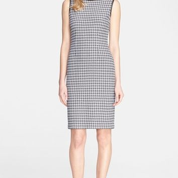 Women's St. John Collection Houndstooth Knit Dress with Leather Trim,