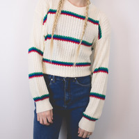 Vintage White Striped Sweater