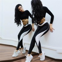 Hot Sale Autumn Women's Fashion Patchwork Sports Yoga Pants Leggings [83148800015]