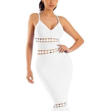 White Cut Out Detail Mermaid Bottom Bandage Dress
