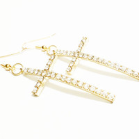 Cross Earrings / Gold Tone Cross Earrings / Cross Jewelry / Cross Jewellery / Rhinestone Earrings/ Bling Jewelry / Christian Jewelry