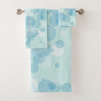 Blue Bubbles Bath Towel Set