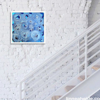abstract painting - acrylic on canvas - blue circles - minimal - abstract expressionism - ocean sea beach