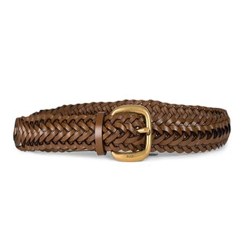 Gucci Women's Classic Braided Leather Belt with Gold Buckle Size: 38 380606