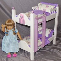 Doll Bunk Bed perfect for the American Girl Doll and all 18 inch dolls with aborable pink and purple owl 8 piece bedding set