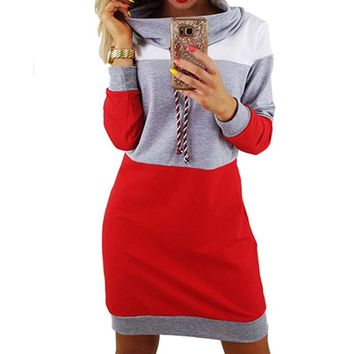 Spring Turtleneck Hoodies Mini Dress Women Striped Patchwork Female Pullover  Hooded Dress