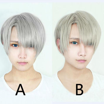 New Arrival YURI on ICE Yuri On Ice Victor Nikiforov Gray Mixed High Quality Cosplay Wig Heat Resistant Hair Wigs