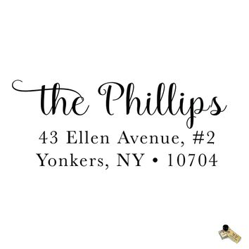 Script Calligraphy Phillips Style Personalized Custom Return Address Rubber Stamp or Self Inking RSVP Envelope Handwriting Stationery Couple