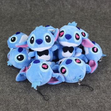 10pcs/lot 15CM Anime Lilo&Stitch Lovely Stitch Plush Toy Soft Stuffed Keychain Pendant Mobile Cell Phone Strap Free Shipping