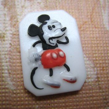 Rare Vintage Mickey Mouse glass Disney octagon white milkglass stone cab cabochon