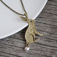 Bunny Necklace, Rabbit Jewelry, Rabbit Necklace, Pearl Jewelry, Pet