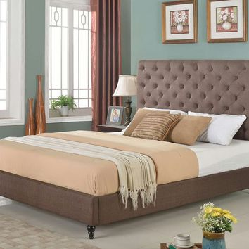 "New Century® Brown Linen Upholstered 51"" Tall Headboard Platform Bed"
