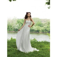 Gorgeous strapless A-line chapel train bridal gowns