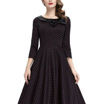2017 Womens Spring Summer style Red 3/4 Sleeve Polka Dot Retro Skater retro 50s Vintage plus size clothing Evening Party Dresses