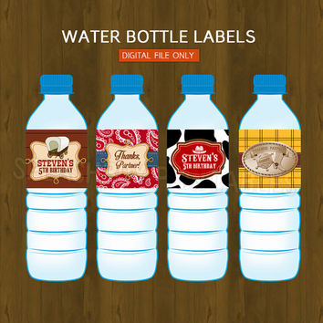 Cowboy Water Bottle Labels- Wild Wild West Cow boy Printable Water Bottle Labels for Birthday or Baby Shower