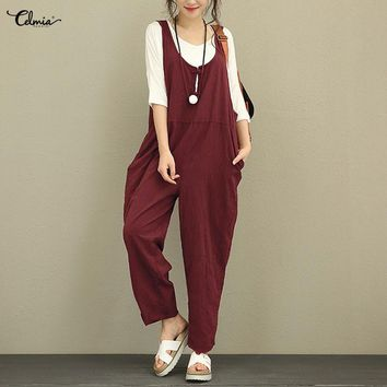 Celmia Women Vintage Linen Jumpsuit Romper Loose Sleeveless Backless Dungarees Solid Casual Trousers Playsuit Plus Size Overalls