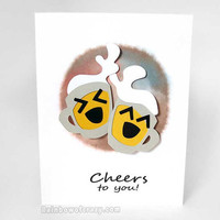 Cheers Card, Personalized Card, Graduation Card, Custom Card, Cheers and Beers, Happy Birthday, Congratulations Card, Congrats New Job