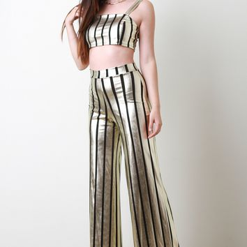 Striped Metallic Crop Top with Palazzo Pants Set