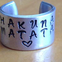 Disney Inspired Lion King Ring - Hakuna Matata - Heart - Hand Stamped Aluminum