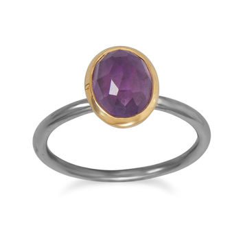 Gunmetal Plated Ring with Oval Amethyst