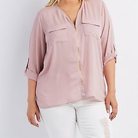 PLUS SIZE ZIPPER-TRIM TAB SLEEVE TOP