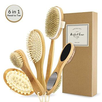 Dry Skin Body Brush Set - Natural Bristle Shower Brush - Remove Dead Skin & Toxins, Cellulite Treatment, Improves Lymphatic Functions, Exfoliates, Stimulates Circulation