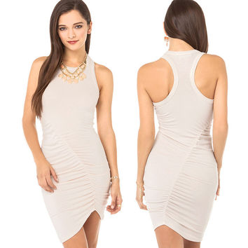 Cream Ruched Racer Back Bodycon Mini Dress