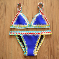 Sky Blue Hand Crochet & Neoprene Bikini Bathing Suit with Rainbow Boarders