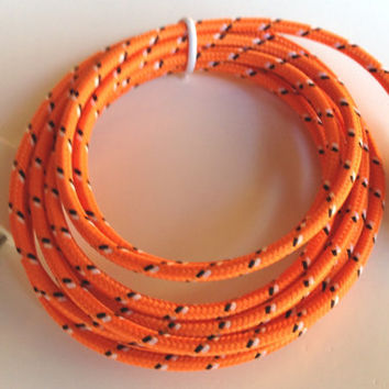 iPhone 4/4s, iPad 2, 3 Charger Sync USB Cable Neon Orange 6 FEET Cord (Fabric Braided)