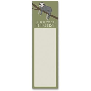 Do Not Want To Do List Sloth Magnetic Sticky Notepad in Mossy Green