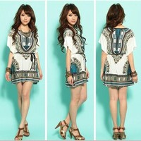 NEW KOREAN FASHION ETHNIC WIDE SLEEVES WOMEN CASUAL SUMMER SHORT MINI DRESS M L