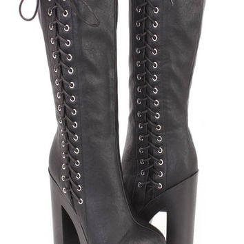 Gothic Punk Rock Side Lace-up Lug Sole Chunky High Heel Platform Black Knee High Boots