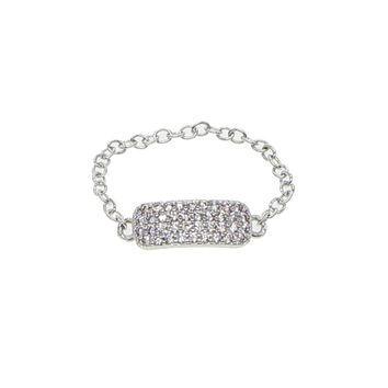 France fashoin jewelry cz bar delicate chain silver color ring bling wide bar fashion women gift minimal lovely chain ring