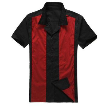 Men's Vintage 60's Look Short Sleeve, Casual , Comes in 3 Color Choices of Red and Black, White and Black or Blue and Black  Designer , Button Down Shirt . Sizes Small thru XXXL