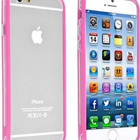 INSTEN Clear TPU Bumper Case with Aluminum Button for Apple iPhone 6 - Retail Packaging - Clear/Hot Pink