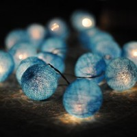 20 X All Blue Light Color Cotton Ball String Light Decor Home Bedroom Living Room Patio Wedding Light Party Display
