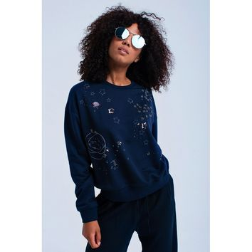 Blue Crew Neck Long Sleeve Sweatshirt