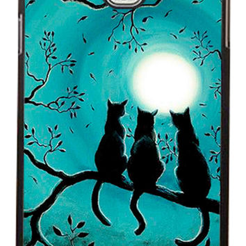 Three Black Cat In The Night Moon Samsung Galaxy Note 3 Cases - Hard Plastic, Rubber Case